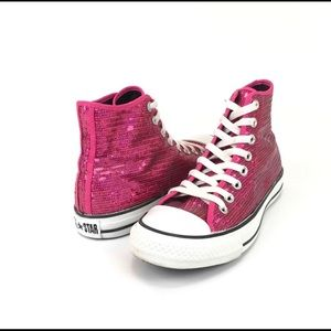 b5cc515d1bed3e Converse Shoes - Converse All Star Pink Sequin High Tops Size 9